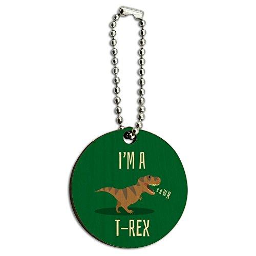 I'm A T-Rex Rawr Cute Tyrannosaurus Rex Wood Wooden Round Keychain Key Chain Ring (Wood Rex)
