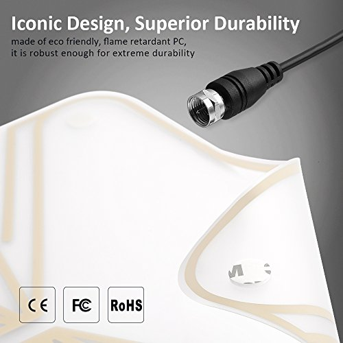 TV Antenna, Houzetek Indoor Amplified HDTV Antenna 50 Mile Range with Detachable Amplifier Signal Booster, USB Power Supply HDTV Antenna and 13.1FT High Performance Coaxial Cable (With UL Certificate) by Houzetek (Image #3)