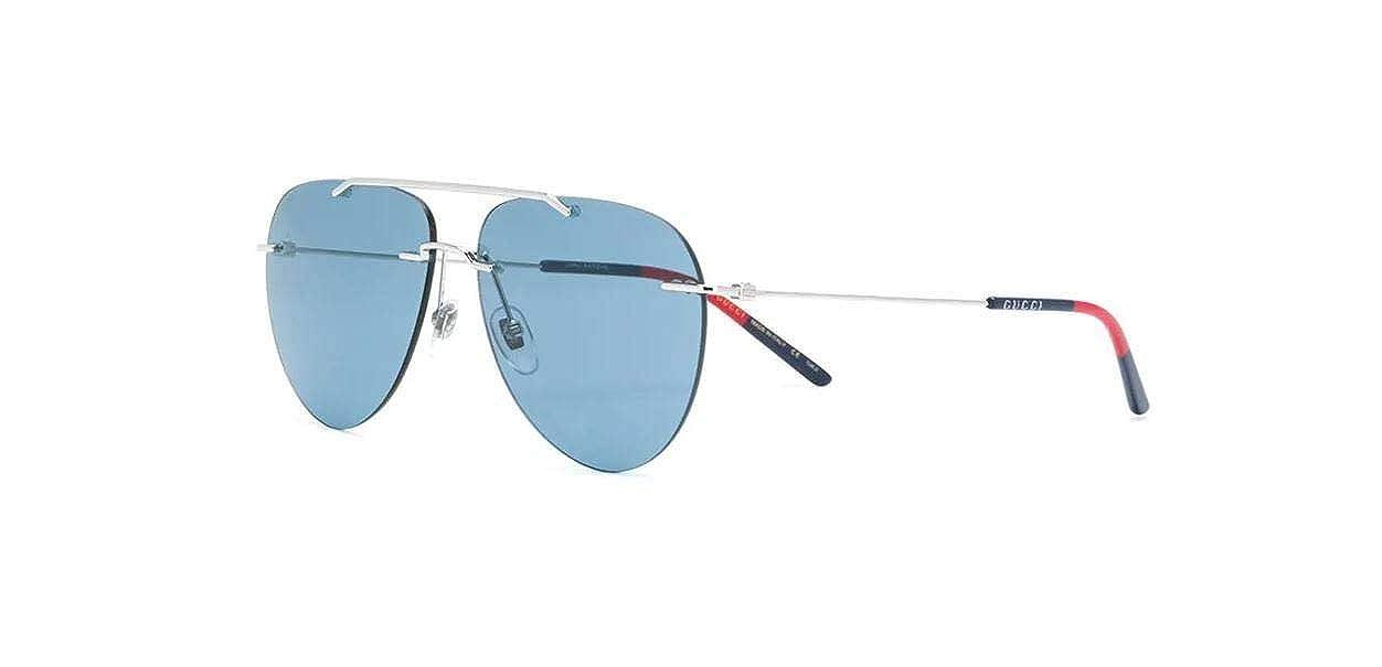 d2a32314a03 Amazon.com  Gucci GG0397S 006 Sunglasses Silver Frame Blue Lenses 60mm   Clothing