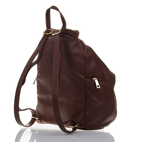 Leather32x35x17 Backpack Handbag In Italy Brown Soft Handbag Marron Rucksack Cm Leather Genuine Firenze made Italian Artegiani Color Woman Geunine wI4164