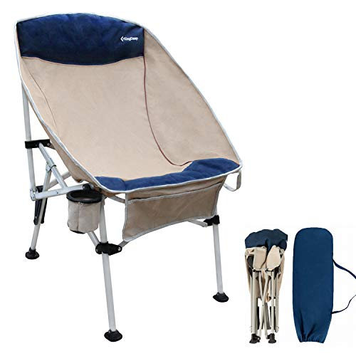 Kingcamp Portable Camping Chair Heavy Duty Deluxe Folding Lawn Chair with Cup Holder, Cotton Padded, Large Pocket for Outdoor, BBQ, Travel, Picnic, Home Nap