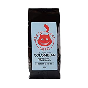 Caffè macinato colombiano Crazy Cat, non amaro, media forza 3, caffè arabico, sapore fresco, tostato e macinato alla…