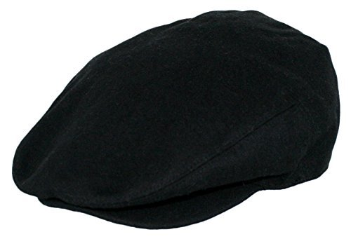 Men's Premium Wool Blend Classic Flat Ivy Newsboy Collection Hat , 1581-Black, Large