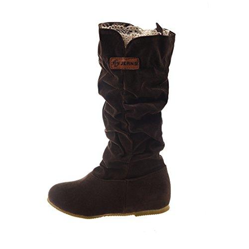 TOOGOO (R)Neue Fashion mittler breit Wade latschig beilaeufig Kniehohe Stiefel kaffeebraun 39