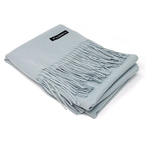 Cashmere Knit Scarf - Silver Grey 100% Cashmere Scarf - Gift Box, Large Size, Removable Tag, Limited Availability