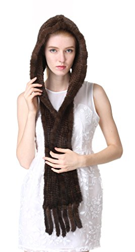 Vogueearth Women'Real Knitted Mink Fur Winter Warmer Scarf Hat Brown