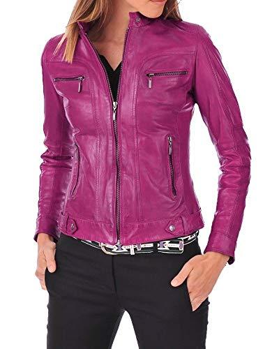 (Womens Leather Jacket Stylish Motorcycle Biker Bomber Real Lambskin Leather Jacket for Women Pink)