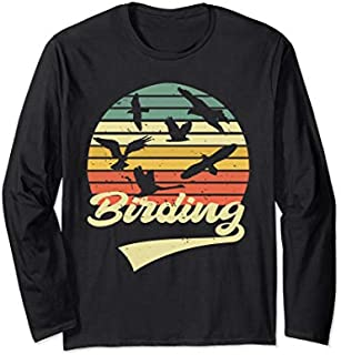 Birding Birdwatching Vintage Retro  Bird Watcher gift Long Sleeve T-shirt | Size S - 5XL