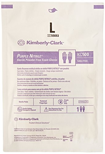 - Kimberly Clark Safety 55093 Purple Nitrile Exam Glove, Sterile Pairs, Large (Pack of 50)