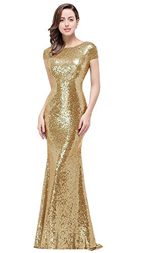 Sequined Mermaid Prom Bridesmaid Dresses Cap Sleeve Backless Evening Gowns for Women Long, Gold, 6