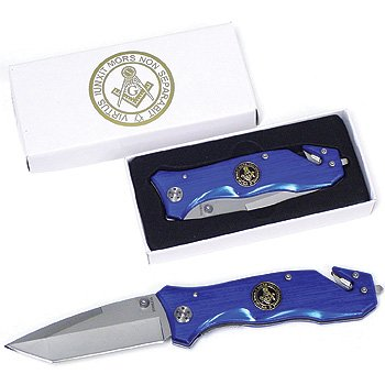 5 Inch Blue Masonic Knife with Medallion, Outdoor Stuffs