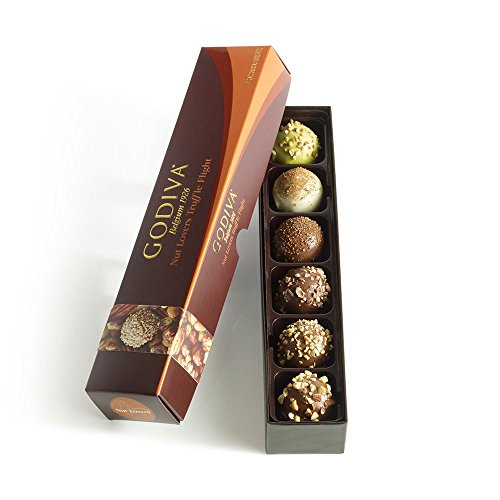Godiva Chocolatier Nut Lovers Chocolate Truffle Flight, Premium Chocolate, Chocolate Treats, Great for Gifting, Chocolate Nuts, 6 pc