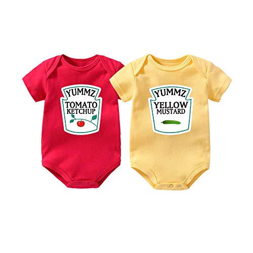 YSCULBUTOL Yummz Tomato Ketchup Yellow Mustard Red and Yellow Bodysuit Baby Boy Twins Baby Clothes Twins Baby Boys -