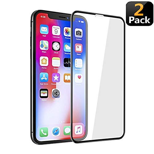 9H iPhone X/Xs iPhone10 Glass Screen Protector [Full Coverage],Include 1 iphoneX Case,Clear Tempered Glass Protector 5.8 inch(2-Pack with 1 Cover)