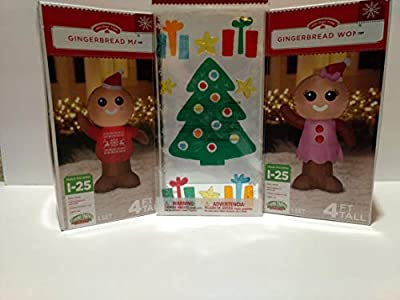 Airblown Inflatable Outdoor Christmas Characters - Gingerbread Man and Gingerbread Woman Set