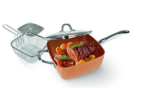 Copper Chef Keramik-Eckpfannen-Set Zum Braten, Frittieren & Dampfgaren ( 4 tlg. )