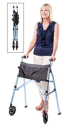 Stander EZ Fold-N-Go Walker, Lightweight Folding & Narrow Adult Travel Walker with Wheels for Seniors, Cobalt Blue