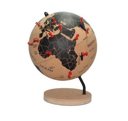 DRW Bola del Mundo - Globo terráqueo Corcho con chinchetas para marcar Paises o Viajes 21x18x18 cm