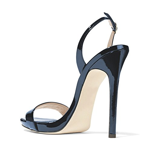Open Shoes Ankle Slingback Sexy FSJ Heel Navy Strap 15 US Women Toe Stiletto Evening Sandals 4 Size High cr7Y7xzqw8