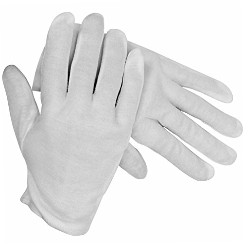 White Stretchy Cotton Gloves (Womens White Stretchy Cotton Gloves)