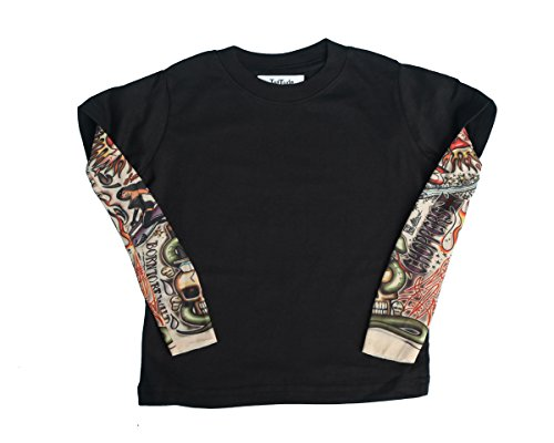 TotTude Baby Boys' Chopper Tattoo Sleeve T Shirt 18 Months Black