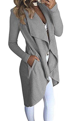 la Asimétrico Atada Invierno Elegante Gris Cardigans Manga Abrigo Blazer Larga Otoño Hem Outwear Mujer Chaqueta a Coat Cintura La Minetom g4wq77