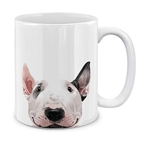 MUGBREW Bull Terrier White Ceramic Coffee Mug Tea Cup, 11 OZ