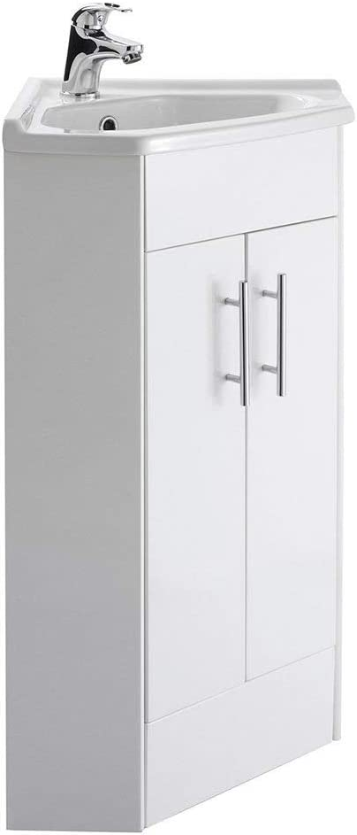 White High Gloss Corner Bathroom Cabinet