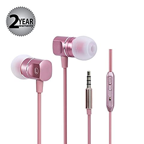 Earbuds In Ear Headphones Earphones Metal Noise Isolatingfor iPhone iPad iPod Android Smartphones Tablets Laptop Mac Computer MP3/4 Mic Controller Rose Gold Headset Built-in Mic 3.5mm