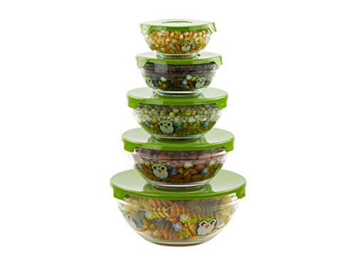 Show 5 Pc Nesting Glass Bowls - Multi Purpose Travel Food Containers - Lunch Bowl w/ Lids & Owl Design price