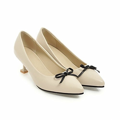 Heel Court Carolbar Chic Bow Sweet Toe Shoes Mid Beige Stiletto Pointed Women's Arr6wzqxI