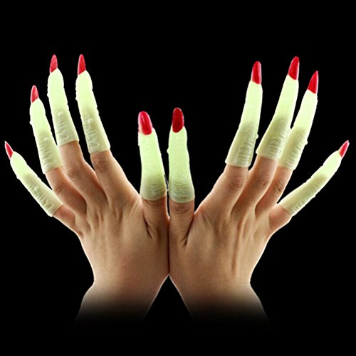 (BESTOYARD 10pcs Witch Fingers Fake Nails Luminous Glow-in-the-Dark Spooky Scary Witches Fingers Party Props Costume Fingers Halloween Costumes Party)