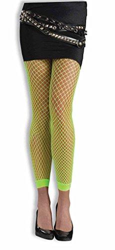 Adult Neon Fishnet Footless Leggings - Neon Green (Green Fishnet Neon)