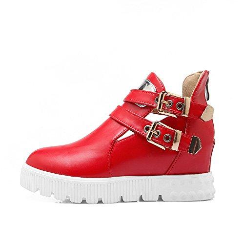 AllhqFashion Damen Rund Zehe Mittler Absatz Blend Reißverschluss Reißverschluss Pumps Schuhe Rot