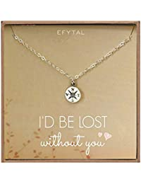 Necklace Gift for Girlfriend/Wife, Sterling Silver Cute I Love You Compass Heart Jewelry for Her, I'd Be Lost Without You Valentines Day, Romantic Anniversary Birthday Gift Ideas