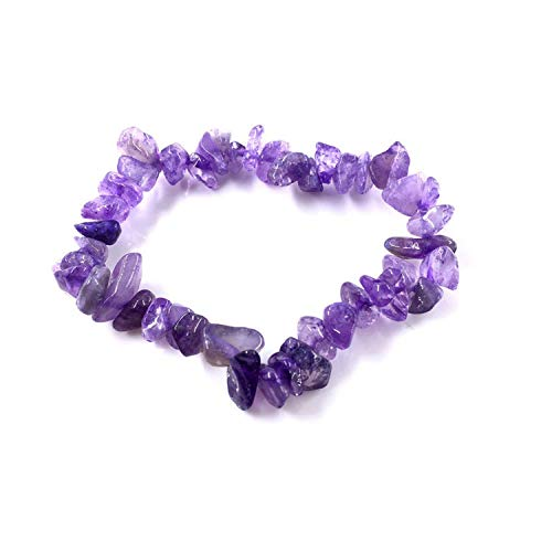 - 35 Color Natural Gemstone Bracelet Irregular Crystal Stretch Chip Beads Nuggets Bracelets,Amethyst