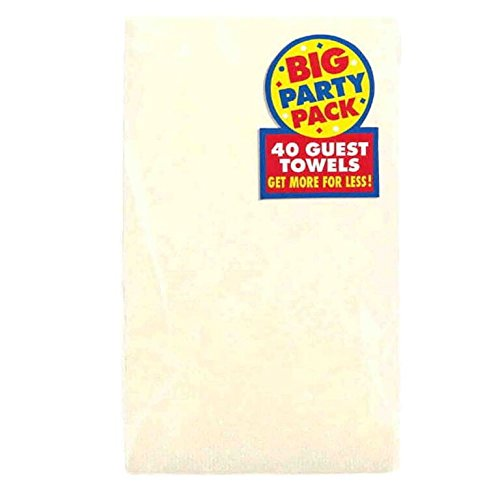 Big Party Pack 2-Ply Guest Towels | Vanilla Crème| Pack of 40 | Party Supply (Paper Creme)