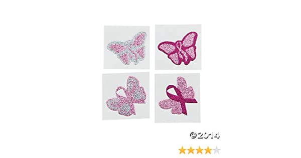 2 Dozen 24 Pink Ribbon Glitter Butterfly Tattoos Breast Cancer Awareness Event Giveaways