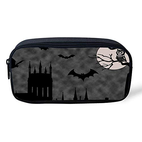 (BuautypencilbagKOO Halloween Bat Owl ScenePencil Case Pen Bag Makeup Pouch Durable Students Stationery with)