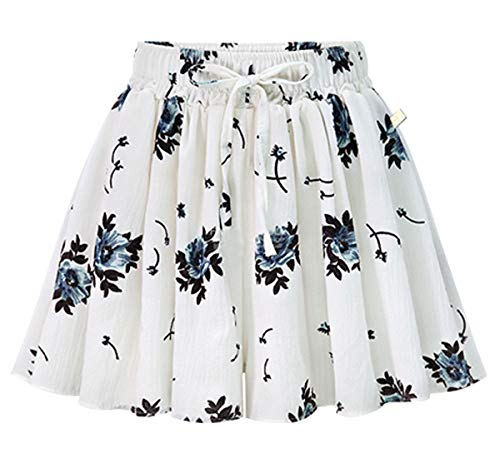 Flared Shorts - Fuwenni Women's Elastic Waist Shorts Casual Beach Wide Leg Culottes Shorts Floral White US 16
