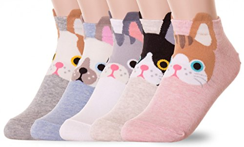 Kitty Cat Socks (5 Pairs) (Teen Kitty)