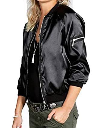 Mogogo Womens Pure Color Zips Baseball Stand Collar Stylish Jacket Coats Black L