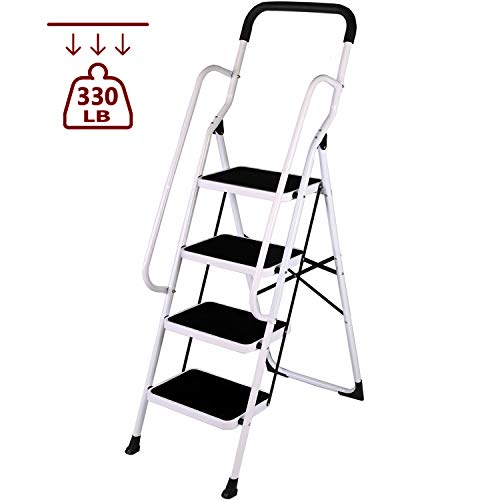 - Livebest 4 Step Ladder Folding Step Stool with Handrails Non-slip Safety Ladder Heavy Duty 330 lb Load Capacity,Iron,Household Kitchen Garden Use