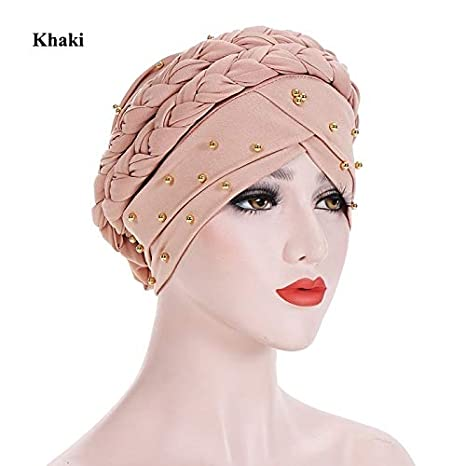 Image Unavailable. Image not available for. Color  Mini Mexx Fashion Style  Women New Muslim Beads Stretch Turban Headscarf Hat Milk Silk Braid Hijab eae2d653bf37