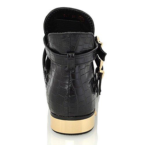 ESSEX GLAM WOMENS LADIES FLAT LOW HEEL BUCKLE CUT OUT CHELSEA ANKLE BOOTS SHOES SIZE 3-8 Black Croc ZX5zXEk