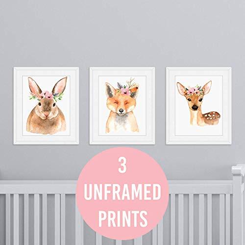 Set of 3 Nursery Wall Prints Woodland Creatures UNFRAMED Baby Girl Bedroom Decor Fox Deer Rabbit Animal Whimsical Decor Posters 8x10