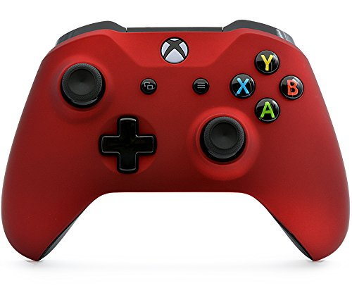 """Soft Touch Red"" Xbox One S Rapid Fire Custom Modded Controller 40 Mods for All Major Shooter Games, Auto Aim, Quick Scope, Auto Run, Sniper Breath, Jump Shot, Active Reload & More (with 3.5 jack)"