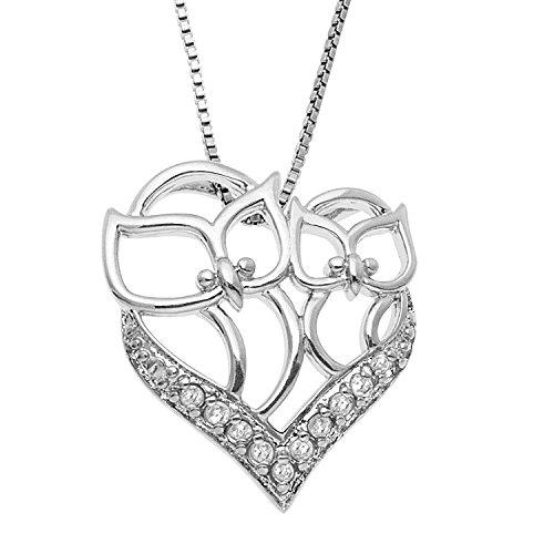JewelExclusive Sterling Silver 1/10cttw Natural Round-Cut Diamond (J-K Color, I2-I3 Clarity) Heart Owl Mom and Child Pendant-Necklace, 18