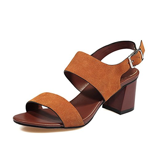 BalaMasa Girls open-toe Chunky Heels smerigliato sandali, Marrone (Brown), 35
