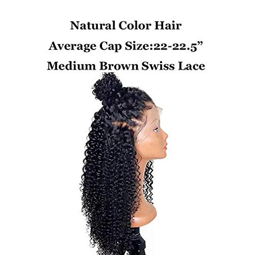 Miebfjho Curly Part Lace Front Human Hair Wigs With Baby Hair Brazilian Remy Black Lace Wig Women ()